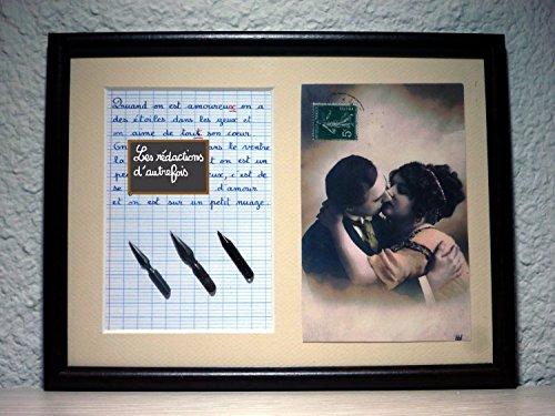 Tableau avec photo ancienne et texte sur l'amour et les amoureux