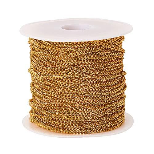 Airssory 32.8 Ft (10 metros) Bordillo de metal de latón Cadenas chapadas en oro Cadenas retorcidas Cadena de enlace sin terminar para fabricación de joyas masculinas y femeninas DIY