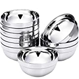 SATINIOR 10 Pack Stainless Steel Bowls Double-walled Insulated Soup Bowls Multipurpose Rice Ice Cream Kids Snacks (13 oz)