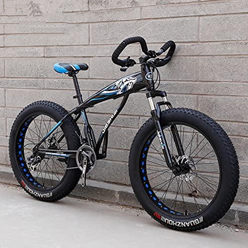 LHQ-HQ Bicicleta De Montaña para Adultos, Manillar De Mariposa, Neumático Grueso De 26', 27 Velocidades, Suspensión De Horquilla, Kit De Cambio Shimano, Carga De 200 Kg,D
