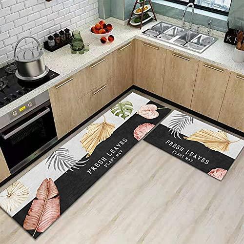 WESG Alfombrillas Antideslizantes de Cocina, alfombras absorbentes de baño, alfombras Modernas y Elegantes para Puertas de Entrada para Interiores y Exteriores NO.7 50X80cm y 50X160cm