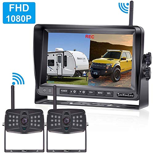 LeeKooLuu 1080P Digital Wireless 2 Backup Cameras Kit RV Observation System 7'' DVR Monitor Split/Quard Screen for Trailers,Trucks,Motorhomes,5th Wheel IP69K Waterproof Super Night Vision