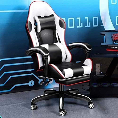 WSDSX Office Chairs Gaming Chair with Bluetooth&Footrest,Ergonomic High Back Computer Racing Chair, PU Leather Executive Office Desk Chair Height Adjustment Massage Game Chair (Color : B)