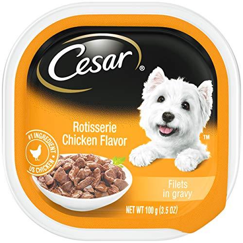 CESAR Soft Wet Dog Food Filets in Gravy Rotisserie Chicken Flavor, (24) 3.5 oz. Easy Peel Trays