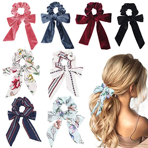 8pcs, Bowknot Hair Scrunchies Chiffon Velvet Scarf Hair Ties -$4.99(50% Off)