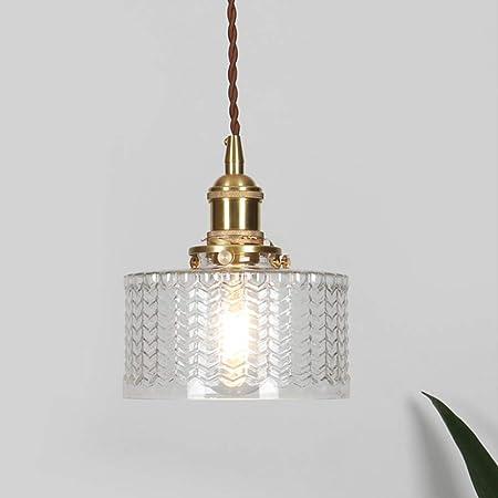 Lampe suspension industrielle vintage en verre écailleux HJXDtech, Lumière suspendue rétro E27 finition laiton, Plafonnier à paire torsadée flexible Loft Bar (Clair)