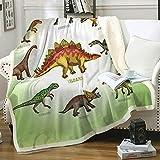 Chifave Throw Blanket, Dinosaur Blanket Plush Fleece Kids Blanket Soft Cozy Cartoon Sherpa Blankets with Jurassic Dinosaurs Good Gift for Children Boys Girls (Dinosaur 1, 50' x 60')…