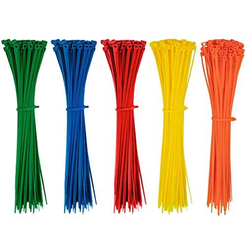 Kabelbinder Bunt 200 x 2.8 mm Hitzebeständig UV Beständig Verstellbare Farbig in Rot Gelb Blau Grün Orange 500 Stück