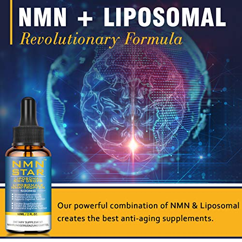 51JPupL1j5L - 4 Bottles Liposomal NMN Drops,500mg, Boost NAD Levels for Cellular Repair, Mental Performance & Anti Aging, Nicotinamide Mononucleotide Supplement for 30 Day Supply (4 Bottles)