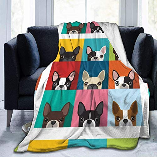 Cubierta De Cama,Mantas De Cama,Boston Terrier Pattern Flannel Fleece Throw Blanket For Couch Sofa Bed Chair-Ultra Soft Anti-Static para Todas Las Estaciones