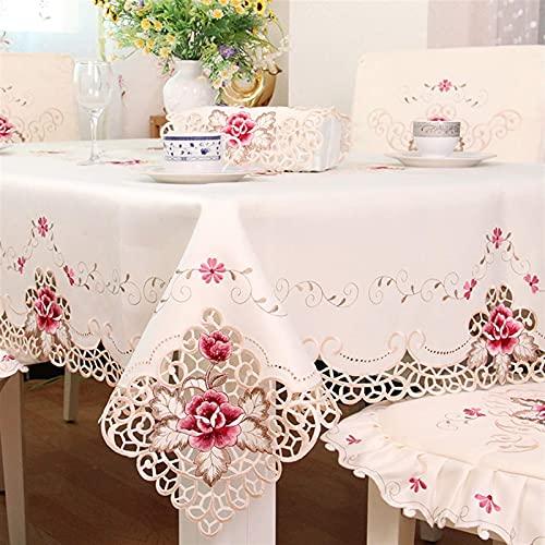 Accesorios para la sala de estar Mantel impermeable Mantel de calidad rústica europea Mantel de comedor de lujo Cubierta de mesa bordada Flor rosa Funda de silla Cojín de asiento (Especificación: 4