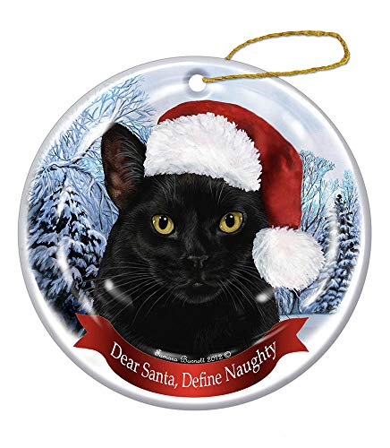 Pet Gifts USA Holiday Pet Gift Black Shorthair Cat Santa Hat Porcelain Christmas Tree Ornament