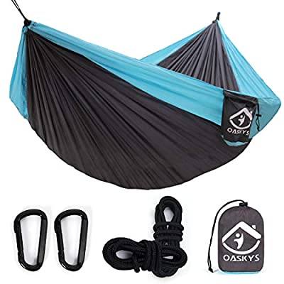 oaskys Camping Hammock Double with 2 Tree Straps Made of Portable Lightweight Nylon Parachute for Backpacking,Travel,Beach,Yard and Outdoor Survival (Grey-Blue)
