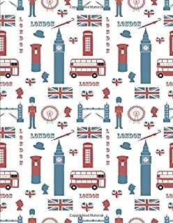 London Notebook: London Journal UK England Flag Journal Book Ruled Lined Page For Kids Teen Girl Women Lady Men Writer Tra...