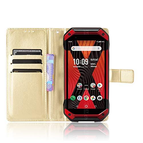 MingMing Lederhülle für Kyocera Torque 5G Hülle, Flip Hülle Schutzhülle Handy mit Kartenfach Stand & Magnet Funktion als Brieftasche, Tasche Cover Etui Handyhülle für Kyocera Torque 5G, Golden