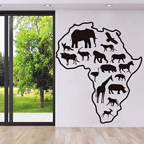 Muursticker Fotobehang Afrikaanse Safari Dieren Muursticker Woonkamer Afrika Kaart Verwijderbare Vinyl Art Sticker S Behang Home Decor 52 * 44Cm