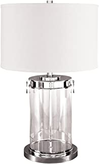 Ashley Furniture Signature Design - Tailynn Glass Cylindrical Table Lamp with Drum Shade - Contemporary - Clear/Silver Finish