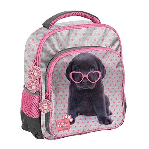 Plecak szkolny Studio Pets szary w rózowe serduszka