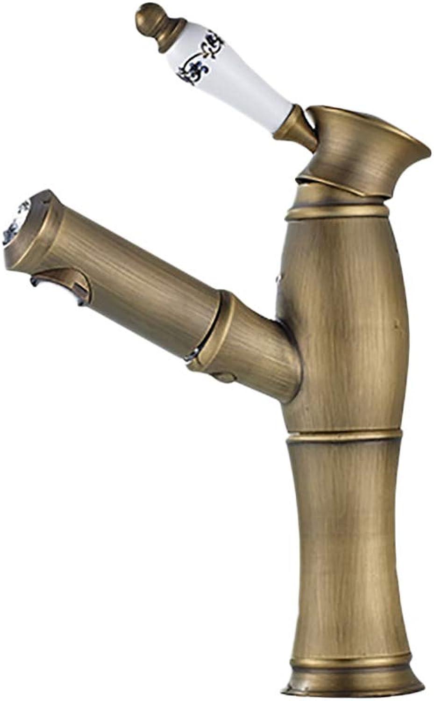 Faucettu Wasserhahn Mischventil europischen Stil alle Bronze Hot und kalt Teleskop Waschbecken Waschbecken Waschbecken Wasserhahn