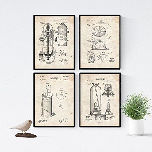 Nacnic Vintage Feuerwehr Patent Poster 4-er Set. Vintage Stil Wanddekoration Abbildung von Feuerlöscher und Feuerwehrkleidung. Verschiedene geometrische Alte Erfindungen Bilder ohne Rahmen. Größe A4.