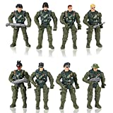 Hautton Soldier Action Figures Toy, 8 Army Men with Weapons Accessories, Removable Body Adjustable Arms Legs Military Playset for Boys Girls Kids Children