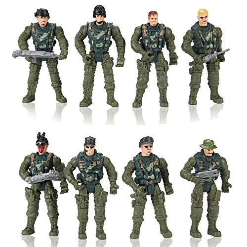Hautton 8 pcs. Conjunto de Hombres del Ejército de Juguete Figuras de Acción Militar de Plástico con Soldados, Tanque, Avión, Helicóptero, Bandera, Valla y Accesorios de Campo de Batalla para Niños