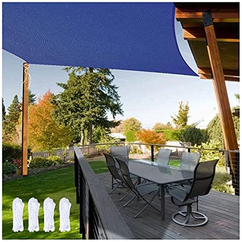 Z&X Parasol de Vela Protector Solar Impermeable para Exteriores toldo Rectangular con toldo 95% de Bloqueo UV para cochera de Patio al Aire Libre de Grado con Cuerda Libre Azul(Size:5 * 5m(16'*16'))