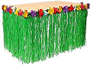Playscene™ Tropical Party Decorations, Tiki Party Table Skirts, Tropical Palm Leaves for Luau Party (Hibiscus Table Skirt (1 Piece))