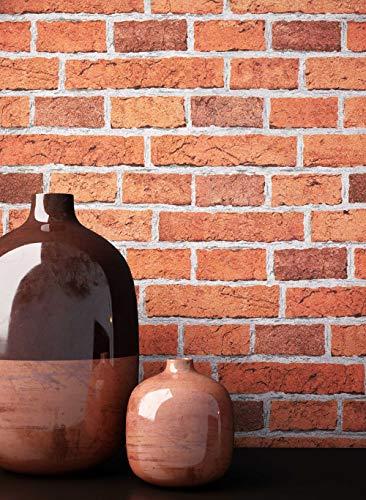 NEWROOM Steintapete Tapete Rot Platten Beton Steinoptik Papiertapete Grau Papier moderne Design 3D Optik Tapete stein papier rot Premium Industrial inkl. Tapezier Ratgeber