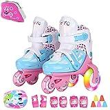 Sumeber Inline Kinder Skates Tri-Linie mit veränderbarer Länge Kid Jungen Mädchen Rollschuhe Outdoor / Indoor (Blau, XS(27-30))