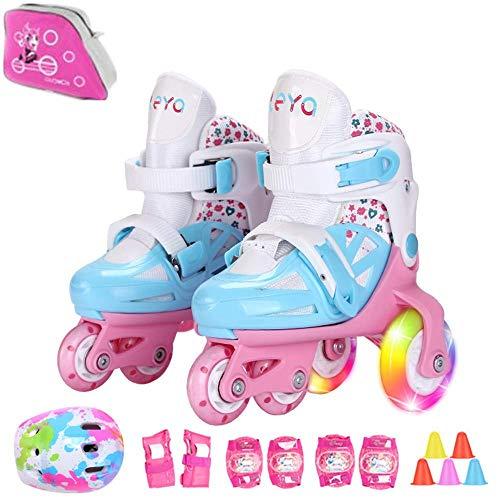 Sumeber Inline Kinder Skates Tri-Linie mit veränderbarer Länge Kid Jungen Mädchen Rollschuhe Outdoor / Indoor (Blau, S(31-34))