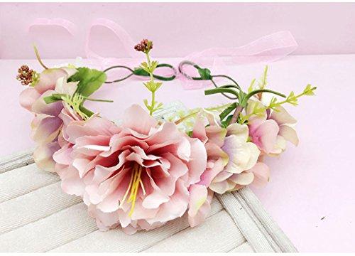 ZGP Couronne de Coiffure Couronne de Fleurs, Bandeau Fleur Garland Fête de Mariée à la Main à la Main Fait Bande Bandeau Bracelet Bande de Cheveux (Couleur : C)