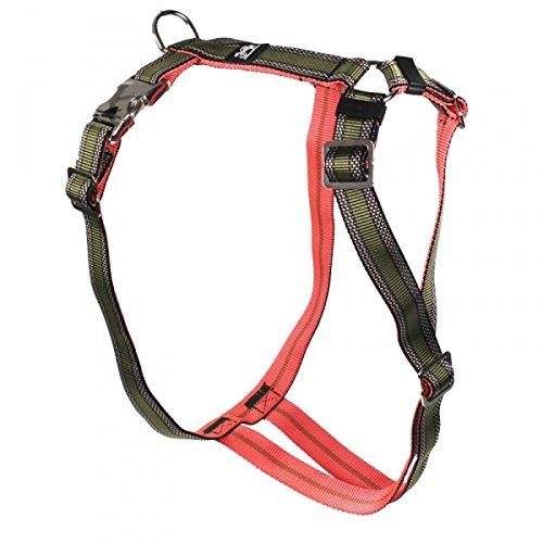 Premium Feltmann Hundegeschirr mit Alu-Max®-Metall-Steckschlössern, Soft-Nylonband khaki Muster 60-80 cm, 25 mm