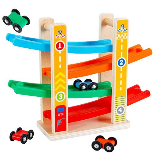 KIDS TOYLAND Wooden Race Track Car for Toddlers, Ramp Racer with 4 Mini Cars Toddler Toy Gift for 1 2 Year Old Boys Girls