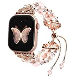 Junwei Bracelet Compatible with Apple Watch Bands 40mm/38mm Series 6/5/4 Women Girl, Handmade Fashion Elastic Beaded Strap Compatible for Apple iWatch Series 3/2/1 - Pink-Updated