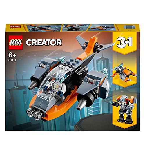 LEGOCreator3in1Cyber-drone,Cyber-mech,Cyber-scooter,SetdaCostruzione,GiochiSpazialiperBambini6Anni,31111