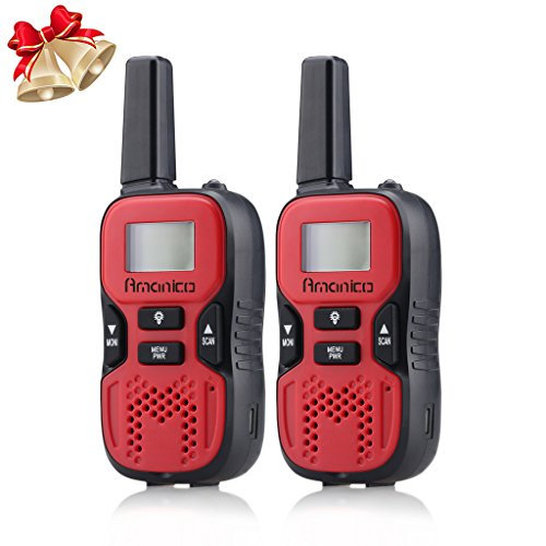 Amanico Kids Walkie Talkies, 22 Channel FRS/GMRS 2 Way Radio 2 Miles (up to 3.7 Miles) UHF Handheld Smart & Mini Size 3.3 in Length for Girls Boys Kids Children Teens (1 Pair), Red