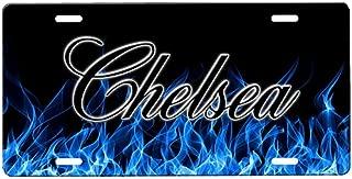 onestopairbrushshop Blue Flames License Plate