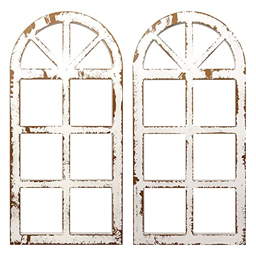 H&A Window Frame Wall Decor, Wood Rustic Wall Decor Decorative Cathedral Arch, Farmhouse Wall Art Home Decoration Fake Window for Kitchen Bedroom Living Room Wall Decor (Pair)(Distressed White)