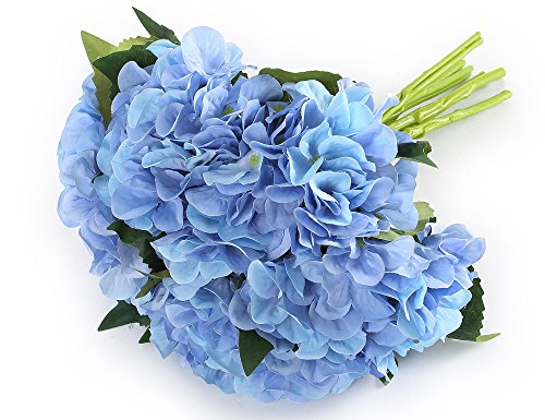 "Greentime 6 Bunchs 8"" Artificial Flower Fake Hydrangea Bouquet Silk Flower Bouquet for Wedding, Room, Home, Hotel, Party Decoration Blue"