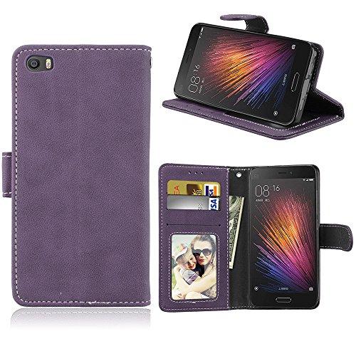 Janeqi para Xiaomi Mi5(5.15') Funda Cáscara - Funda de Cuero Flip Helado Vintage con Bolsa de Tarjetas Anti-caída de Negocios Case Cover - H3/púrpura