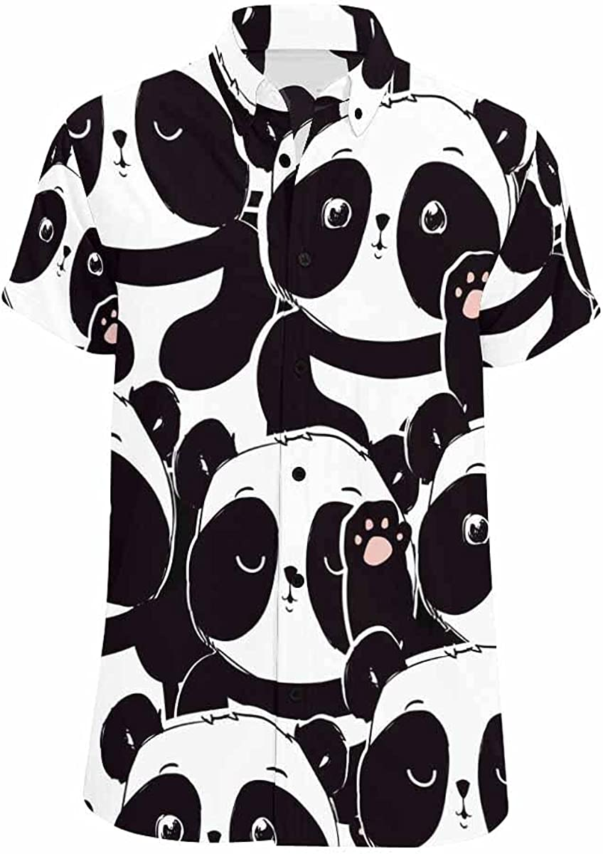 InterestPrint Pattern Panda Bear cheap Button Ranking TOP15 Printed Shir Down Casual