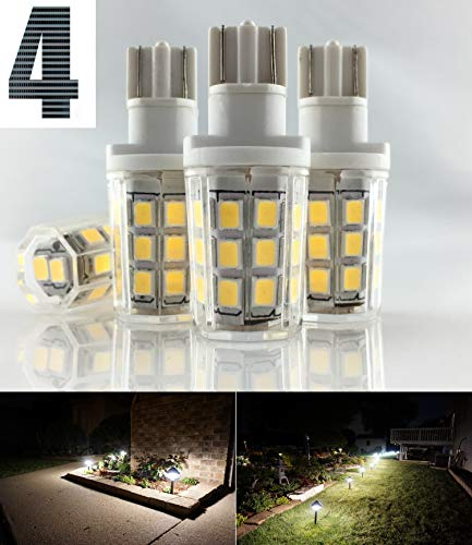 SRRB Direct 2.5W LED Replacement 4 Pack Landscape Pathway Light Bulb 12V AC/DC Wedge Base T5 T10 for Malibu Paradise Moonrays and More (4 Pack, Natural White)