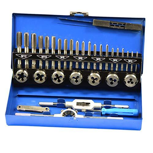 F Fityle Juego de Machos Y Matrices HSS Juego de Brocas para Herramientas de Fabricación de Corte con Llave Métrica M3-12 con Estuche