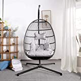 NICESOUL Indoor Outdoor Patio Wicker Hanging Chair with Stand Swing Egg Basket Chairs with Cushions Aluminum Frame 350lbs Capaticy for Patio Backyard Balcony Bedroom (Charcoal Large Size)