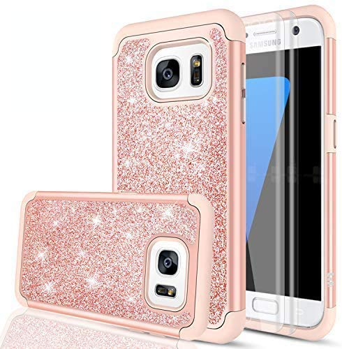 LeYi Compatible with Galaxy S7 Edge Case (Not Fit S7) with 2 Pack 3D PET Screen Protector, Bling Cute Girls Women Dual Layer Heavy Duty Phone Case for Samsung Galaxy S7 Edge 2016 Rose Gold