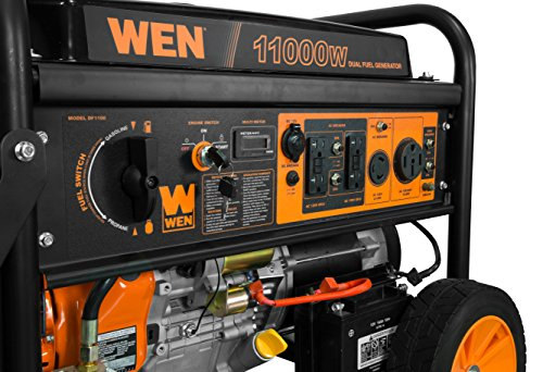 WEN DF1100T 11,000-Watt 120V/240V Dual Fuel Portable Generator with Wheel Kit and Electric Start -...
