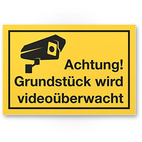 Grundstück Videoüberwacht Kunststoff Schild (gelb, 30 x 20 cm) - Achtung/Vorsicht Videoüberwachung - Hinweis/Hinweisschild Videoüberwacht - Warnschild/Warnhinweis