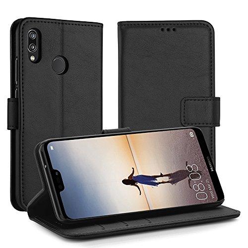 Simpeak Funda Compatible con Huawei P20 Lite, Carcasa Compatible con Huawei P20 Lite Funda Cuero Compatible con Huawei P20 Lite Negro(5,84 Pulgadas),Soporte Plegable,Ranuras Compatible con Tarjetas