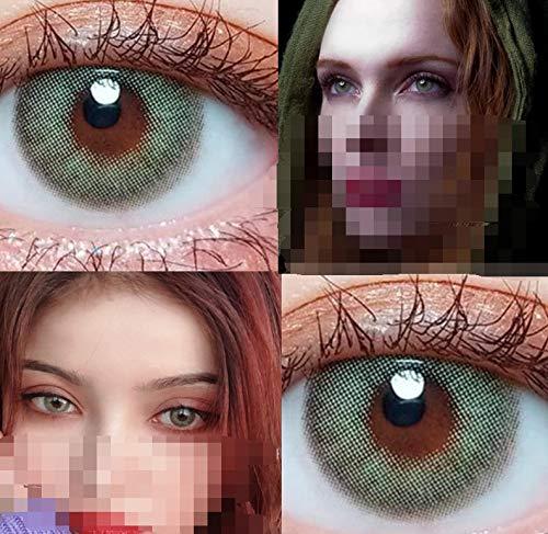 2 Stück/Paar Super Hybrid Himalaya Farbige Kontaktlinsen for die Augen Kosmetik Kontakte Augen Make-up, 0.00 Dioptrien (Farbe : Wildcat Green, Größe : 0)